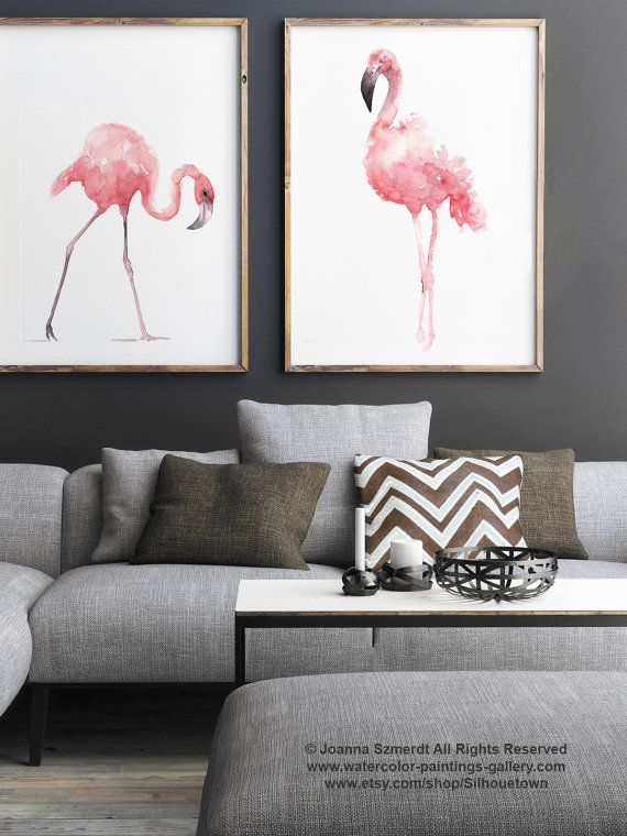 Flamingo Watercolor Painting, Set of 2 Birds, Pink Abstract Art Print, Flamingos Nursery Room Decor