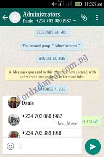 Latest version of Whatsapp now supports tagging on group chat  Latest version of whatsapp now supports tagging on whatsapp group chats. Whatsapp has been upgrading and is looking forward to surpass Google Allo. Which it is been compared to. How to tag on whatsapp Once you have launched your whatsapp click on a group chat. Use this symbol @ Once you apply it it would list out users on that group chat then select any user you wish to mention Example @Lordxdonval  Features of the whatsapp tag…