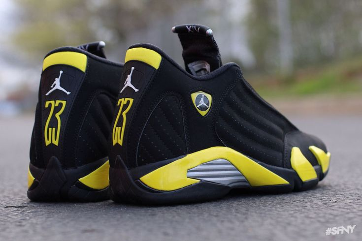"A new look at the Air Jordan 14 Retro ""Thunder"" #jordan"