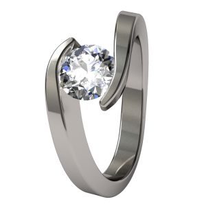 The Stella titanium engagement ring is elegant and trendy.  The diamond or gemstone appears to float in a flowing wave.
