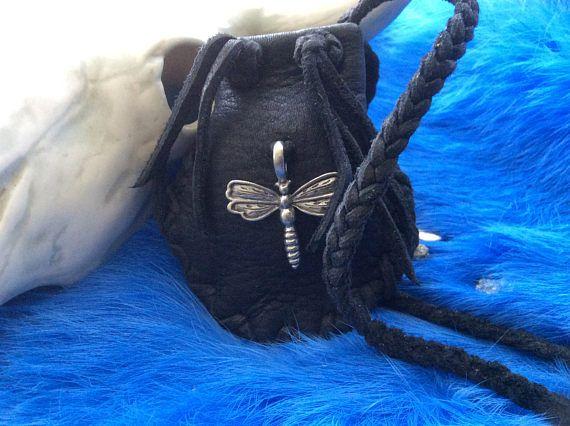 Medicine Bag with Dragonfly Pendant  Handmade Black Deer Hide