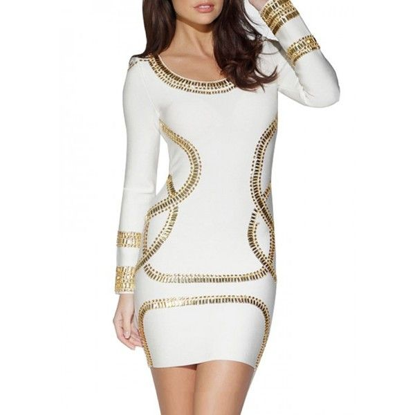 Long Sleeve Sequin Bandage Dress Long Sleeve (€92) ❤ liked on Polyvore featuring dresses, bpdress, sequin bandage dress, long sleeve dresses, beaded dress, short sequin dress and sequin mini dress