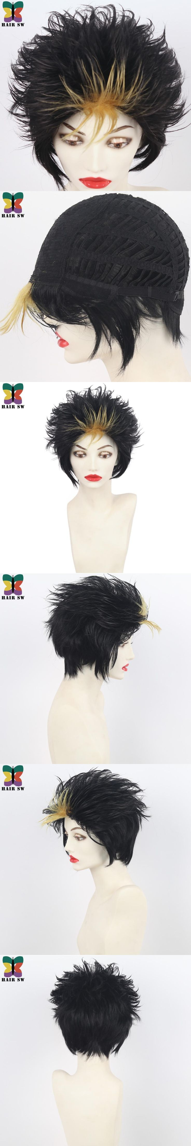 HAIR SW Short High School Volleyball Club Cosplay Wig Synthetic Yuu Layer Black Gold Highlights Costume Party Halloween Wig
