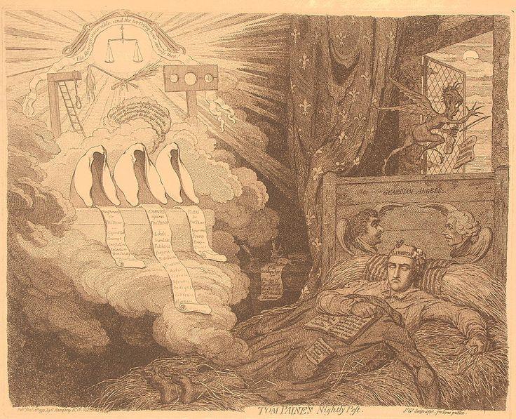 #BastilleDay Tom Paine's nightly pest. Gillray, 1792.