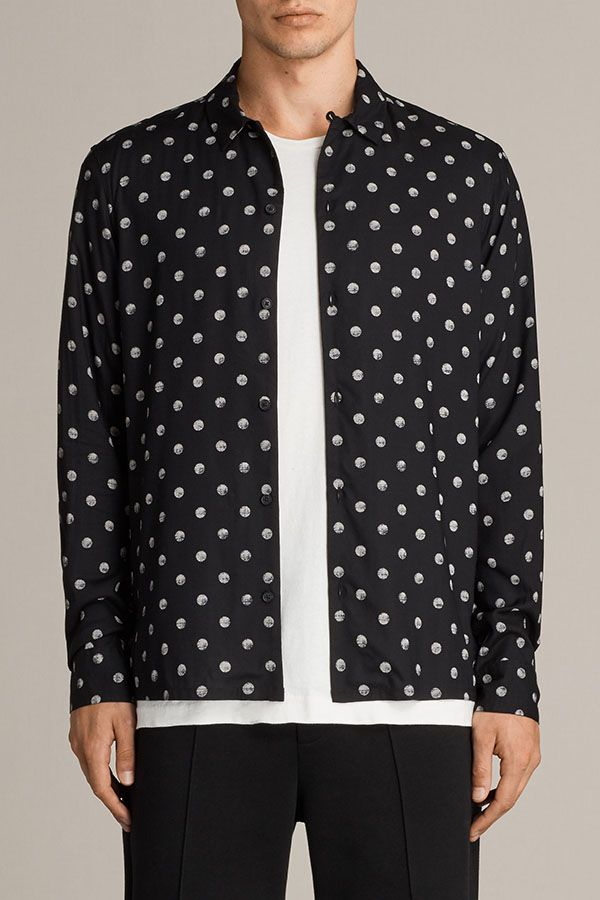 AllSaints New Arrivals: Cody Shirt. The polka dot print on the Cody Long Sleeve Shirt has been treated for a faded look for a more casual approach.