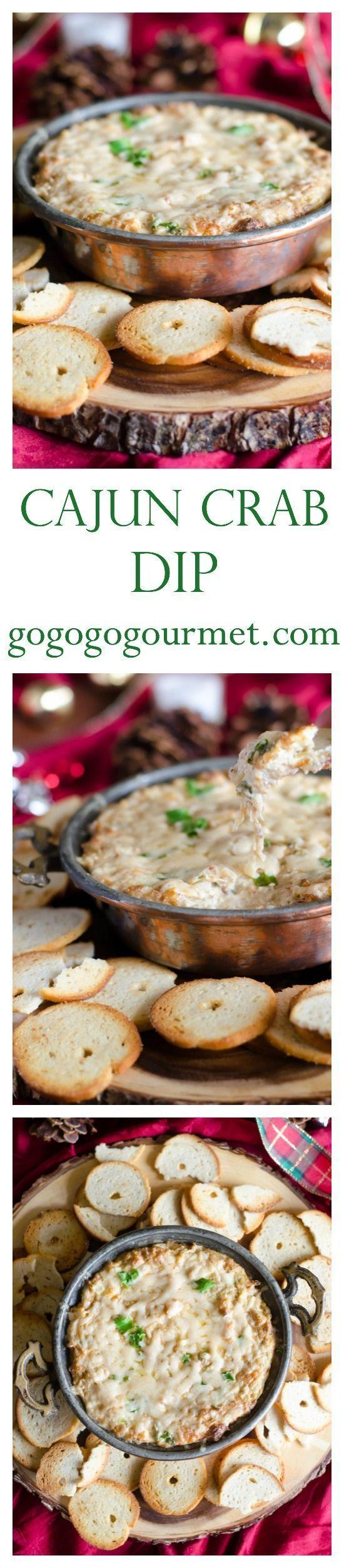 Everyone loves a good dip for parties- and this Cajun Crab Dip is truly addicting! | Go Go Go Gourmet /gogogogourmet/
