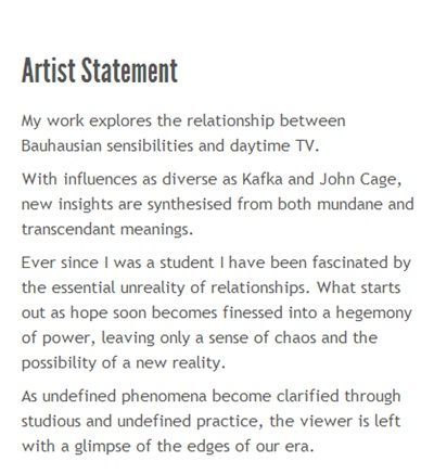 Owners Ardent How To Write A Good Artist Statement radio service