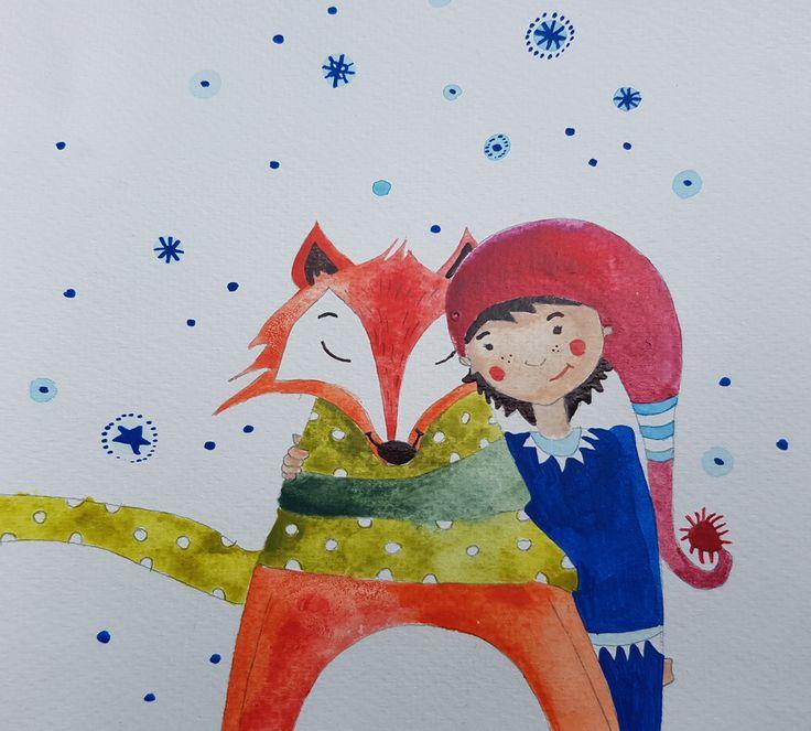 #fuchs #herrfuchs #aquarell #aquarelle #watercolorpainting #watercolor #watercolorart #fox #animalart #illustration #foxillustration #drawing #foxdrawing #winter  #snow #frends #pixie #childrensbookillustration