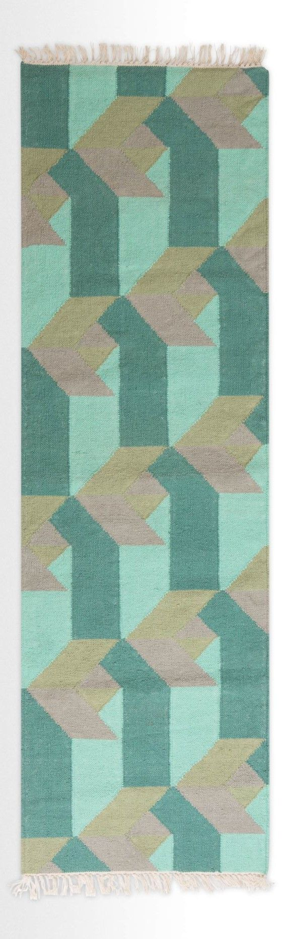 Sea green runner rug, MADE.COM Designed by Jean-Pierre Brown, this cotton rug…