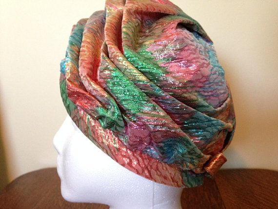 Vintage 1960's Turban style Hat Multi-colored by VintageMonReve