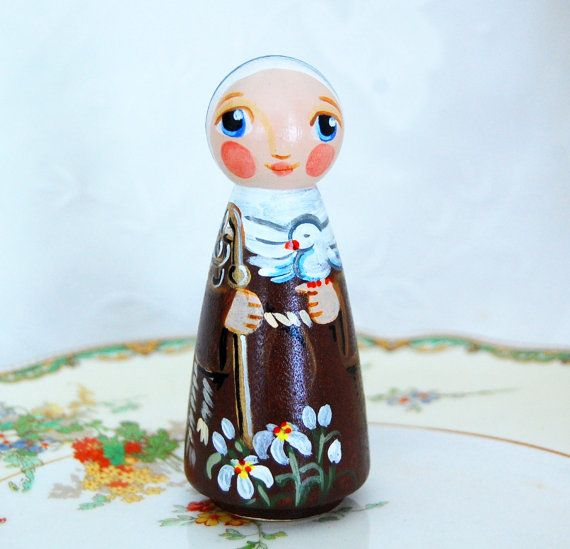Saint Colette wooden statue doll  ***This Saint Colette doll will be made after purchase. Please allow some weeks for shipment - check my