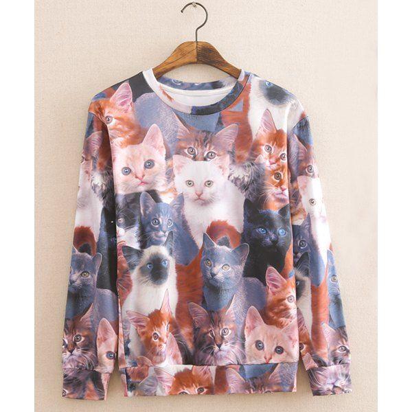 Wholesale Slimming Trendy 3D Cat Print Round Neck Long Sleeves Cotton Blend Sweatshirt For Men (COLORMIX,XL), Hoodies - Rosewholesale.com