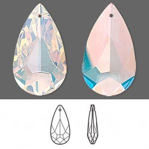 Crystal AB - 34 x20mm 1pc, Swarovski faceted teardrop pendant (6100)