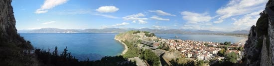 Ascent to Palamidi Fortress in Nafplio. Panorama from step 319.