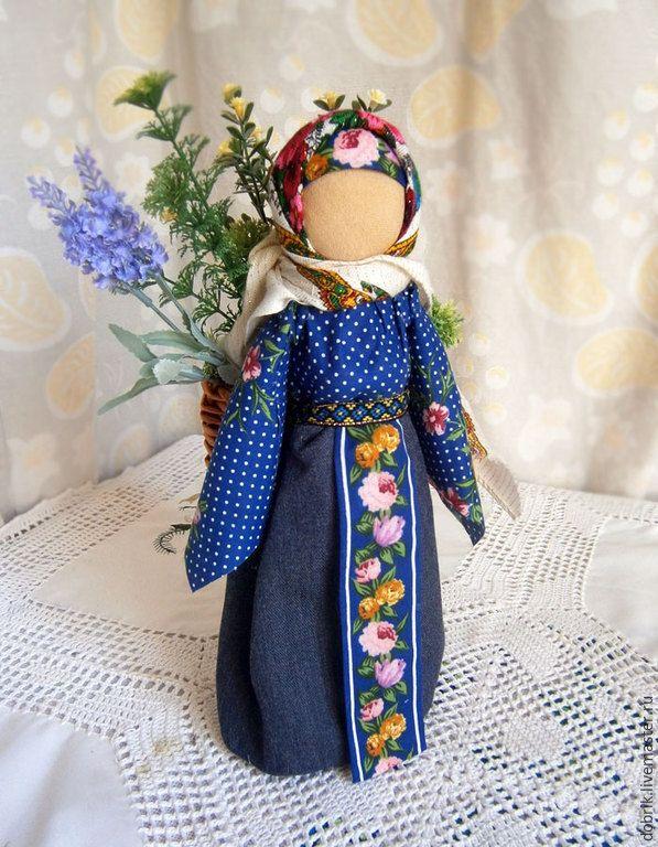 Купить Народная кукла оберег Процветание - синий, кукла оберег, народная кукла, кукла текстильная