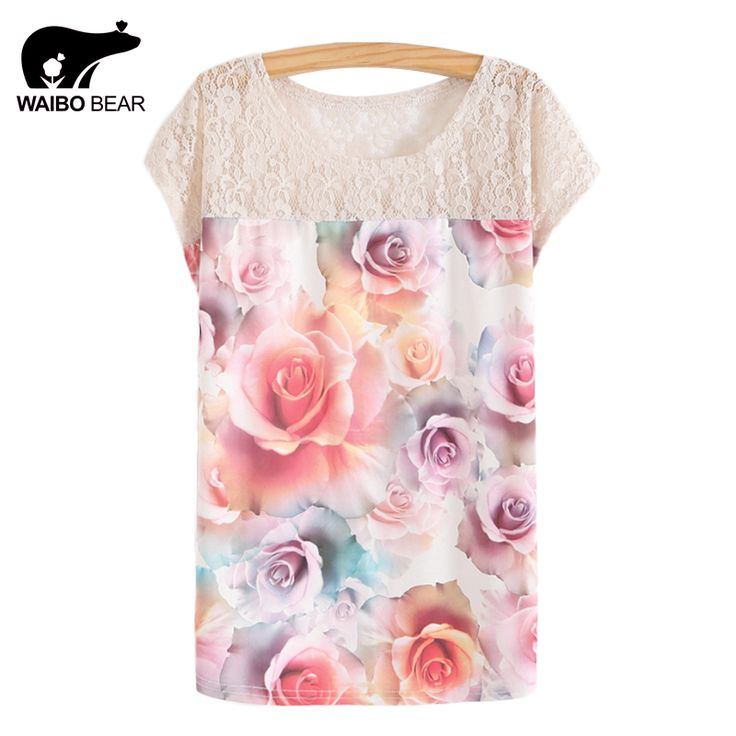 Summer Batwing Sleeve Shirt Women 3D Floral Printed Blouses Female Lace Patchwork Perspective Ladies Blouse
