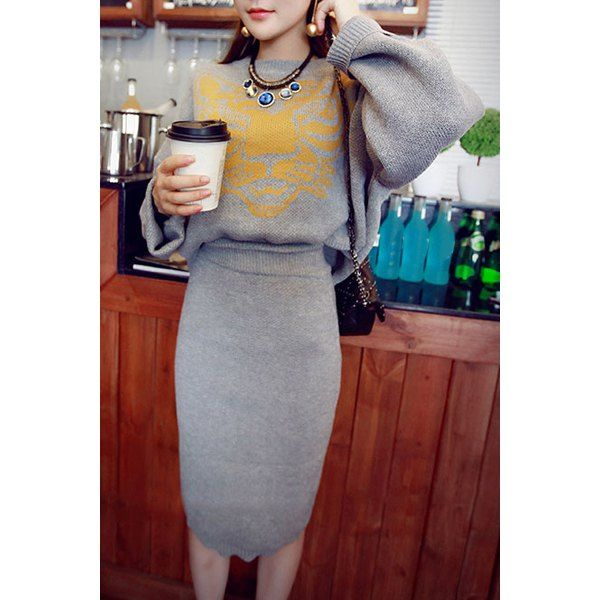 Stylish Round Neck Tiger Pattern Long Sleeve Sweater + Solid Color Skirt Twinset For Women. Love the oversized sleeves in contrast to the pencil skirt and the use of material.