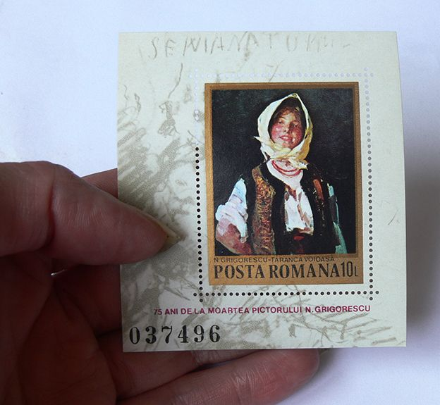 """Aniversary Block of Stamps of the romanian painter Nicolae Grigorescu, in the image is his work """"Taranca Voioasa"""" (Cheer Peasant Girl) made in Romania in 1982 (The year is mentioned on the stamp)."""