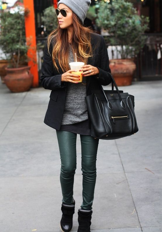 love these forest green leather leggings & the Celine bag