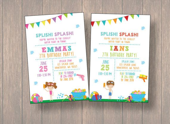Water fight Water fight invitation birthday by Onthegoprints