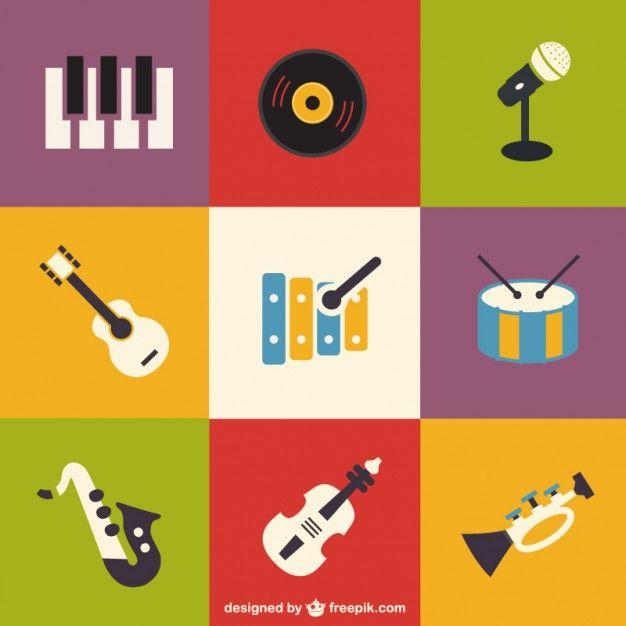 ícones plana definir instrumentos musicais Vetor grátis