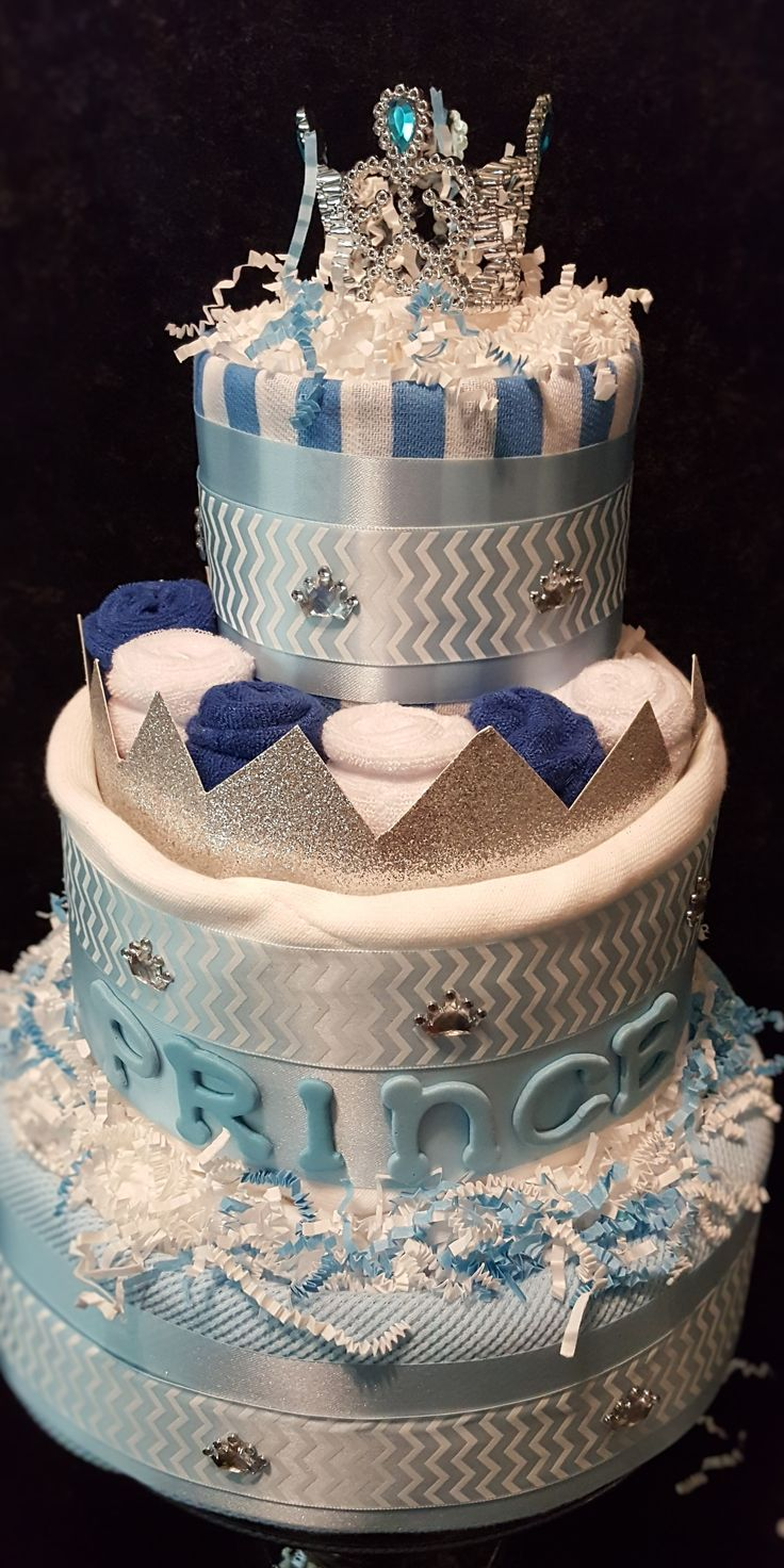 Baby Boy Prince 3 Tier Diaper Cake by Diapercakeboutique.com  Ingredients:Baby burpcloths, washcloths, blanket and diapers