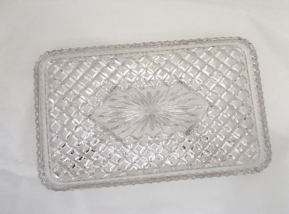 Vintage Lavander Depression Glass Tray Home by thesecretcupboard