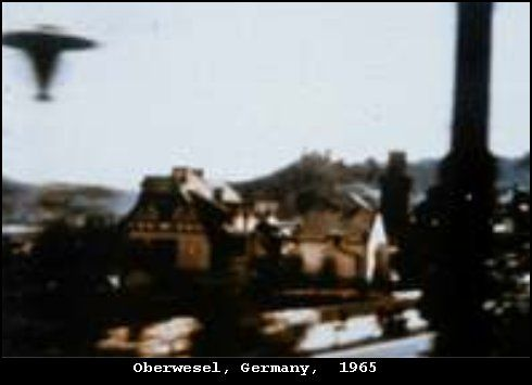 1964 - Oberwesel, Germany. UFO photographed 8 March 1964 by Harry Haukler, who was on a train passing through Oberwesel, Germany, when he saw a disc rise into the air alongside the train. The photograph shows a dark whirling below the disc. A very rare shape on this unknown object.