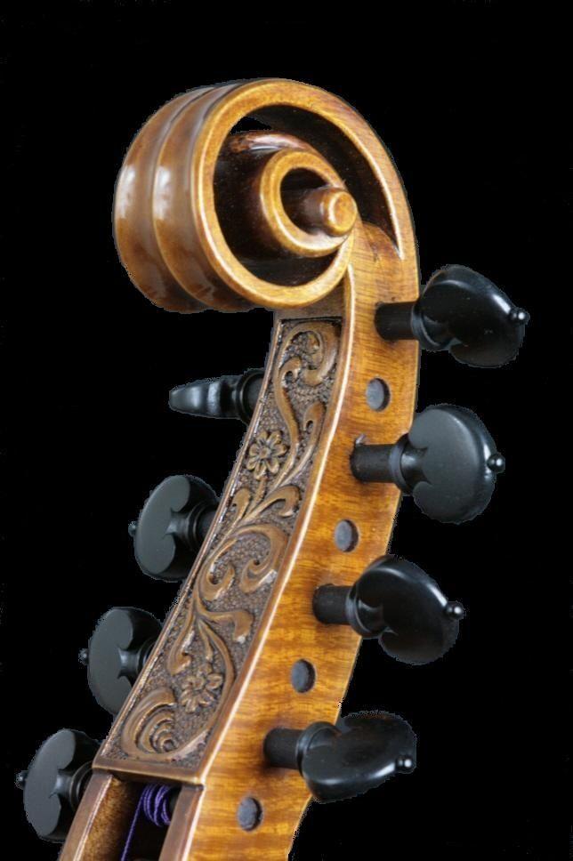 Viola da gamba pierced scroll.