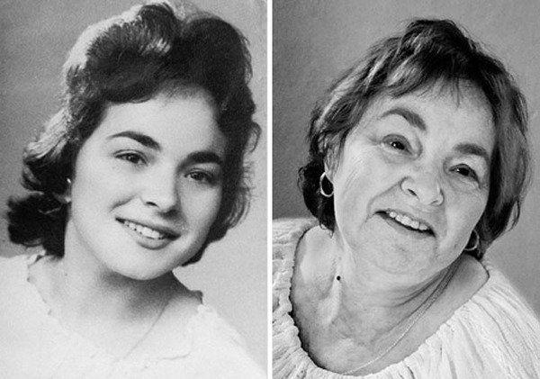 """""""A fotógrafa Ana Oliveira pediu a seus modelos os retratos de sua juventude para que ela pudesse recriá-los. Os idosos foram fotografados na mesma pose das fotos antigas, vestindo roupas semelhantes e até mesmo fazendo as mesmas expressões faciais. As imagens revelam as mudanças marcantes que aconteceram ao longo dos anos."""""""