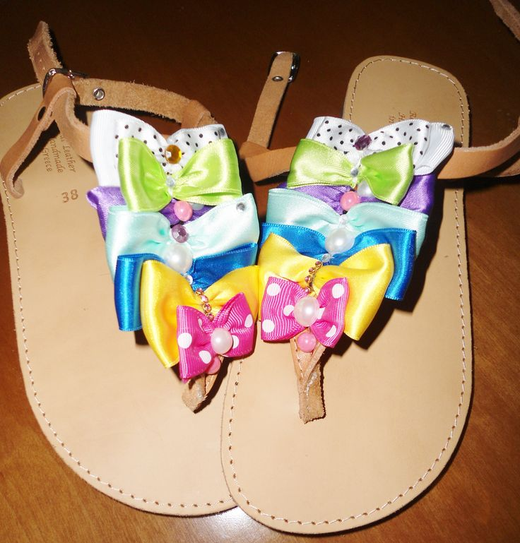 handmade sandals with colourful bows,strass and pearls!!  #sandals #summer #summersandals #bows #colourful #pinup #χειροποιητα #σανδαλια #φιογκοι