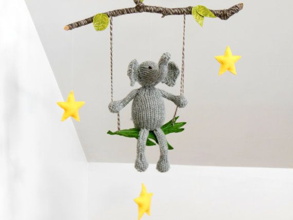 Elephant on a Swing, Gray Elephant Yellow Stars Mobile, Tree Branch, Modern Boy Girl Mobile, Yellow Gray Nursery, Baby Shower, Natural