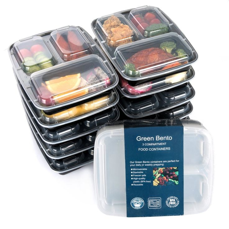 3 sections microwavable reusable freezer safe meal prep food storage containers 10 pack. Black Bedroom Furniture Sets. Home Design Ideas