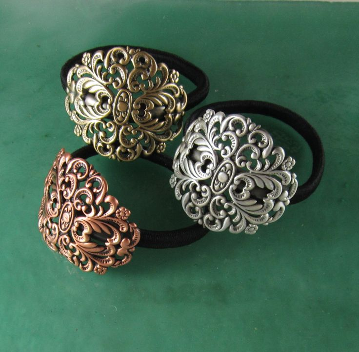 Filigree Ponytail Holder- Hair Accessories- Ties andElastics- by PINSwithPERSONALITY on Etsy https://www.etsy.com/listing/245894805/filigree-ponytail-holder-hair