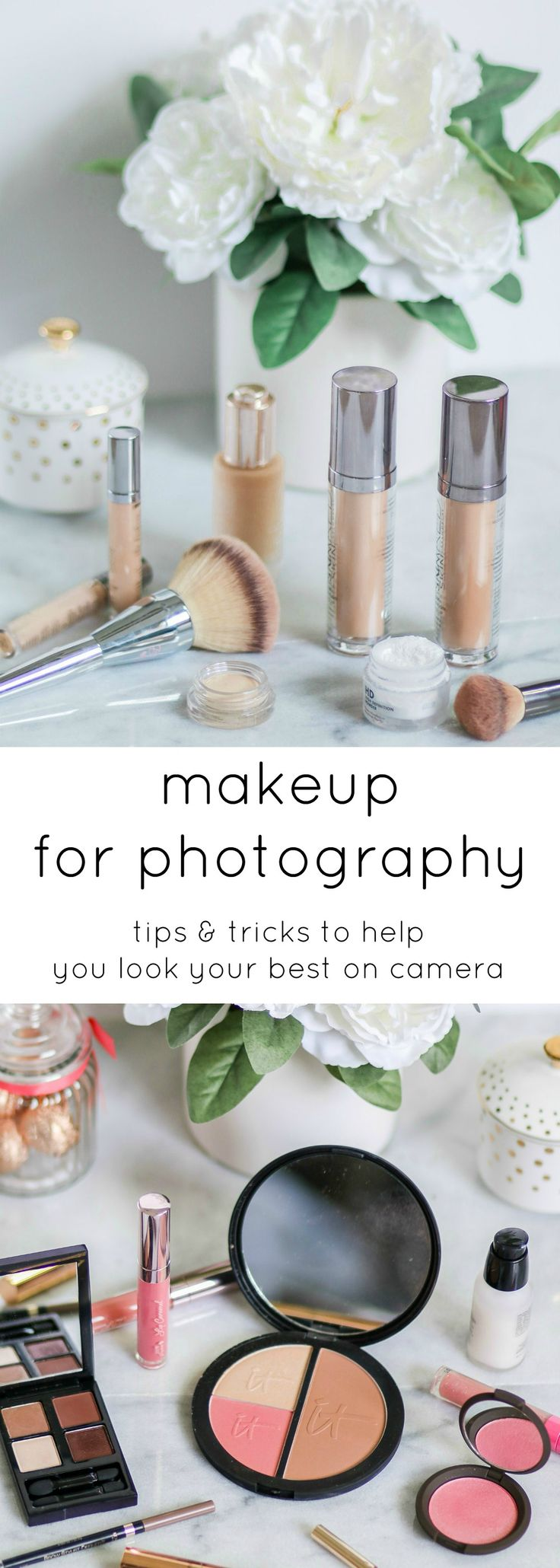 Makeup for everyday and makeup for photography aren't always the same thing. HD cameras pick up little detail and every tiny flaw in your makeup, but thankfully I've picked up a few tips from professional makeup artists that will help you look picture-perfect in front of the camera! Click through this pin to learn my favorite makeup tips for photography with @crest ! | by @ashleynicholas | Sponsored by #crest