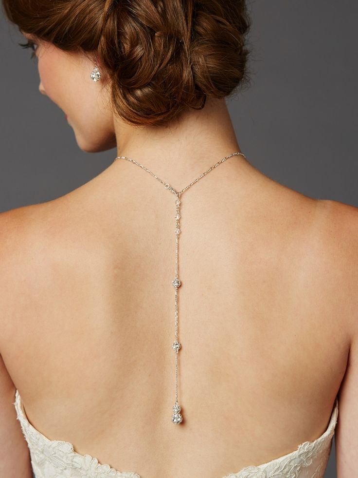 Delicate Back Necklace with Spectacular Austrian Crystal Rhinestone Fireballs- Handmade in USA