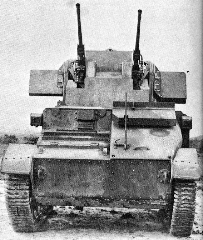 British Tanks of the Inter-war Decades - 1936 - Vickers Light Tank Mk V AA prototype mounted with twin Besa 12.7mm machineguns