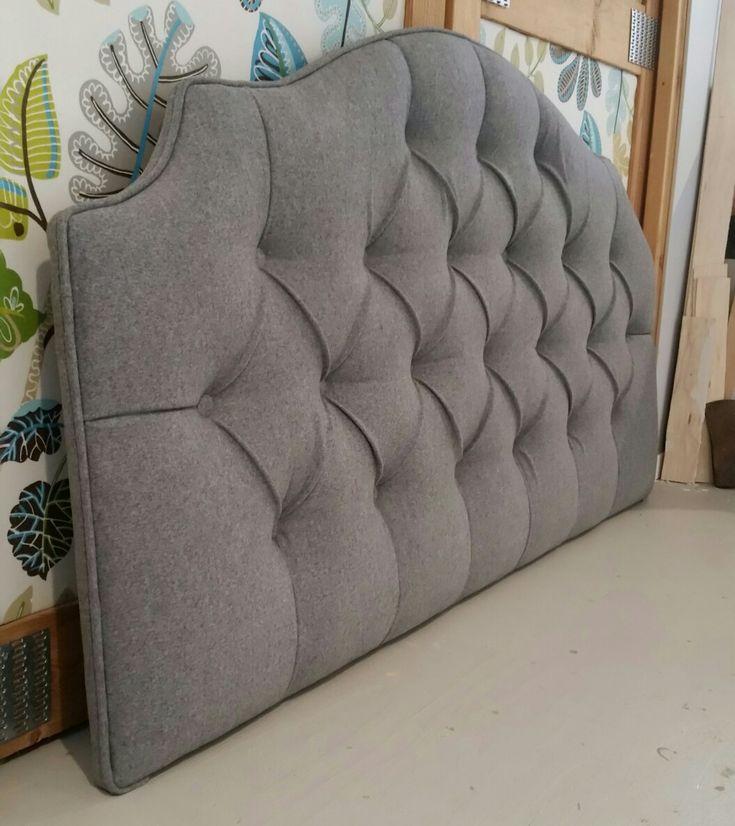 Gray wool tufted upholstered wall mounted headboard custom