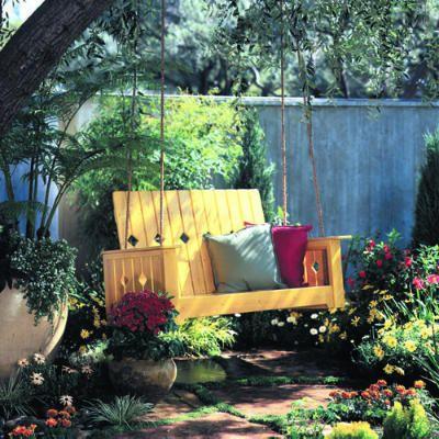 Garden swing: Garden Swings, Ideas, Porch Swings, Outdoor, Gardens, Backyard, Diy Garden