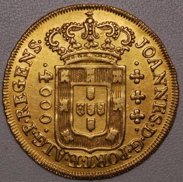 Brasil Colônia - D.João - Moeda em ouro de 4000 réis, ano 1809, DATA EMENDADA DE 1808, variante não catalogada, em estado Soberbo!!!