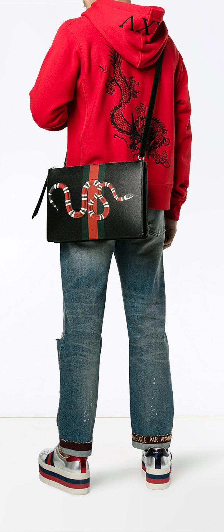 GUCCI web and snake messenger bag, explore new season Gucci on Farfetch now.