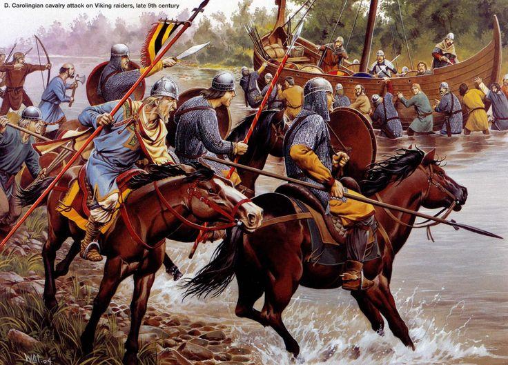 Carolingian cavalry attack on Viking raiders, late 9th century