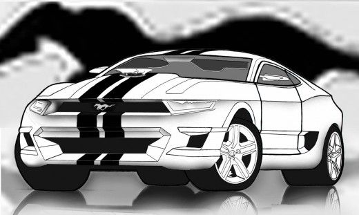 GT500 Ford Mustang made using a graphite pencil drawing and photo editing software.