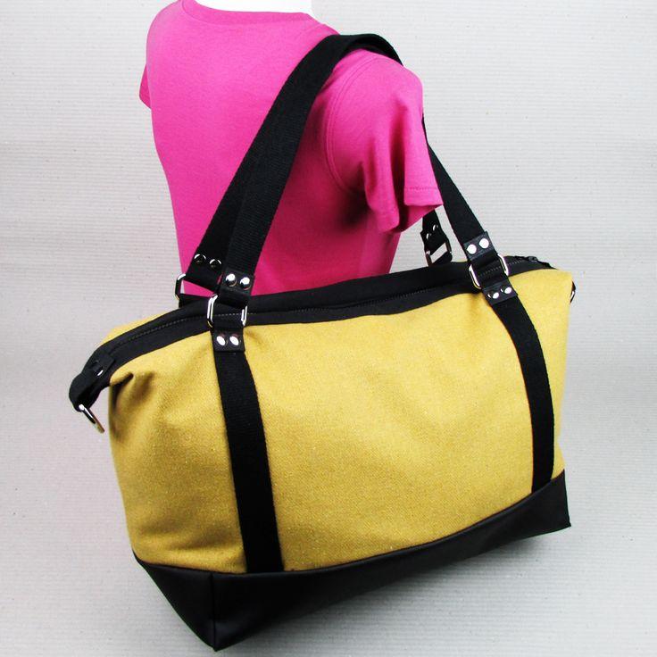 """#insettoamaro """"Ayaka 彩花"""" #weekendBag Yellow wool with Black eco leather"""