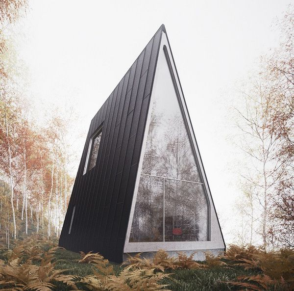 The Allandale House. Designed by William O'Brien Jr., the assistant professor of Architecture in Cambridge, Massachusetts, this unusual vacation house plan is an A-frame house in the forest that stands out among the trees. It's actually quite large for a small house, but it could be modified down.