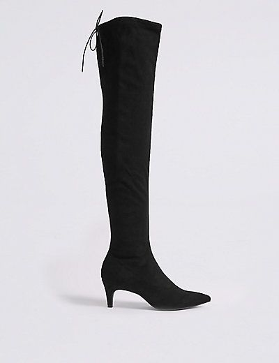 Kitten Heel Side Zip Over the Knee Boots