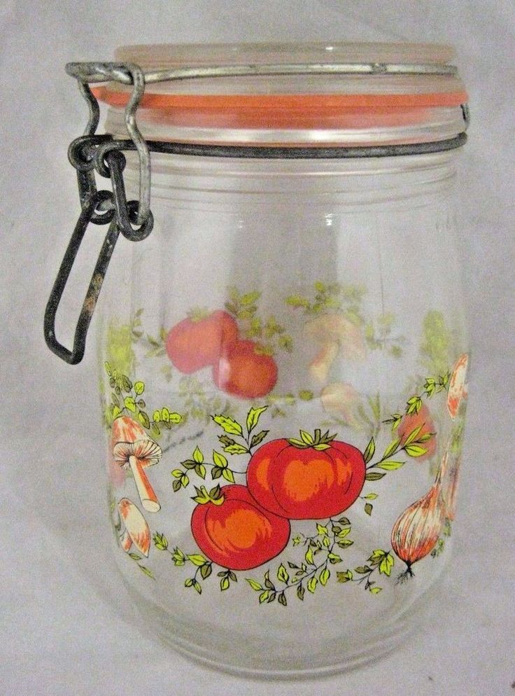 Niveau de Remplissage France Glass Storage Jar Canister 1L Vegetable Motif | Collectibles, Kitchen & Home, Kitchenware | eBay!