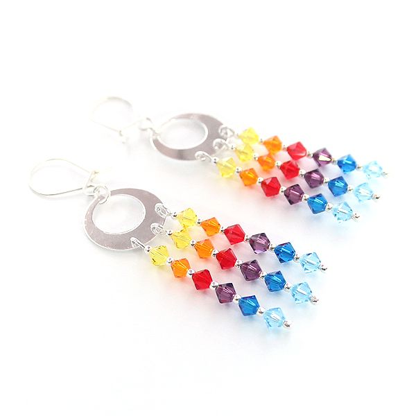 Short rainbow earrings made of Swarovski sparkling crystals, somewhat oriental in form.