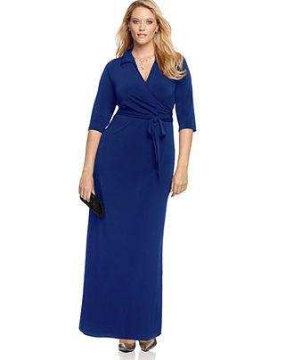 NY Collection Plus Size Faux-Wrap Maxi Dress - Plus Size Sale & Clearance - Plus Sizes - Macy's