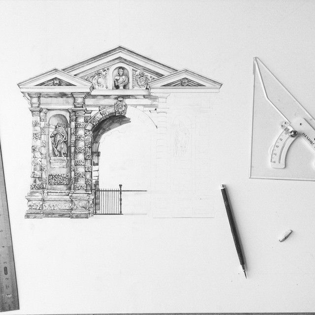 Archway Into The Botanical Gardens In Oxford Architecture Drawing Illustration